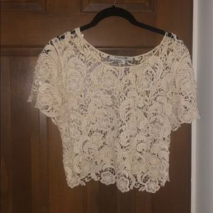 Crocheted white crop top